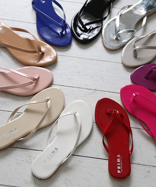 샤리블 심플 애나멜 쪼리 슬리퍼 뮬(black/pink/beige/blue/white/ivory/red/gray/silver/purple/1cm)