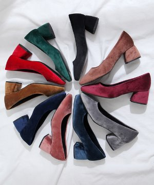 페르디 벨벳 펌프스 미들힐(black/pink/gray/wine/brown/green/beige/sky/red/navy/5cm)